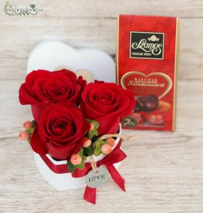 3 red roses in small heart box, with marzipan heart chocolate