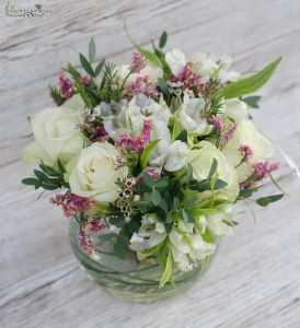 White roses with alstromeries in glass ball