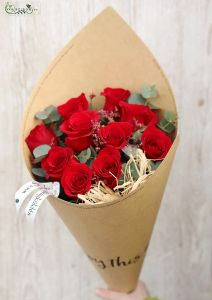 Red roses in craft paper cone, with limonium