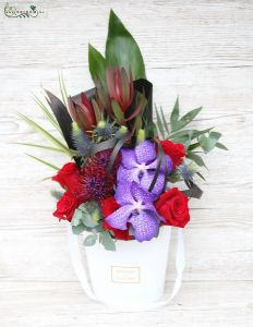 Elegant tropical flower box with red rose, vanda orchid (14stems)