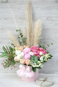 Big cylinder rosebox with pampas grass, echeveria, cotton flower, furry ball, and pastel flowers