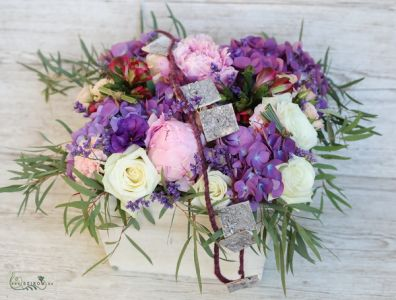 Big wooden box with romantic summer flowers, peonyes, hydrangeas (20 stems)