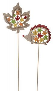Autumn figure on stick 1 piece, hedgehog or leaf