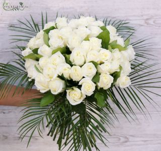 40 long stem white roses in a round bouquet