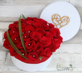 big red rose box with 35 roses, diamanté pins