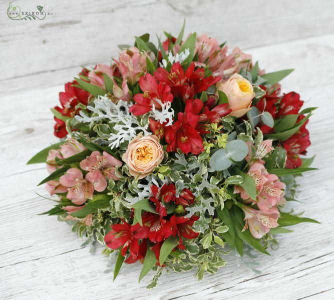Szirom petal wedding florist budapest bridal bouquets wedding car flower alstroemeria english rose red orange peach id 10187 junglespirit Image collections