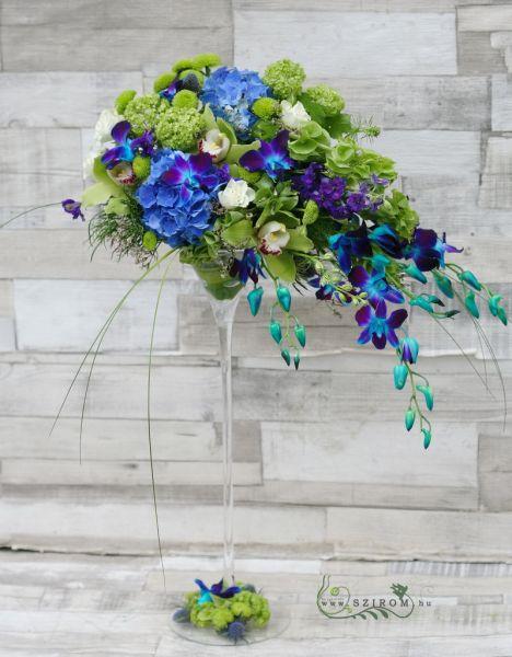 Szirom petal wedding florist budapest bridal bouquets wedding coctail cup centerpiece with blue flowers hydrangea cymbidium dendrobium cpompom blue green wedding id 10265 junglespirit Image collections