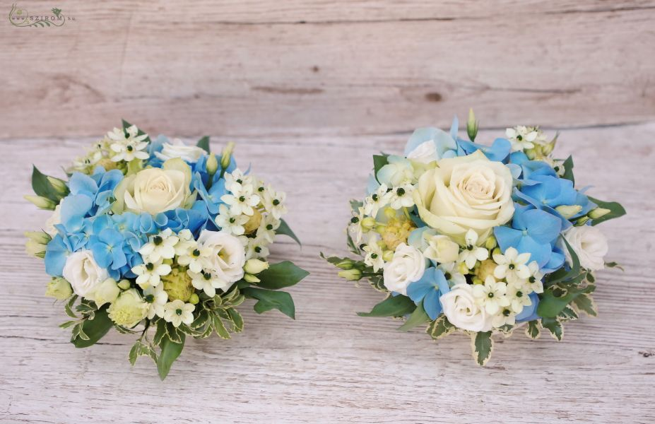 Szirom petal wedding florist budapest bridal bouquets wedding wedding centerpiece with blue hydrangeas white roses ornithogalums id 10717 junglespirit Image collections
