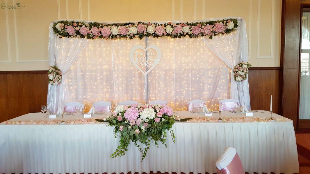 5a0b06d2aa Gellért Hotel Budapest, terem virág díszítés, fényfüggönyös háttér  virágdísszel, rózsaszín, fehérh, esküvő (id: 10741)
