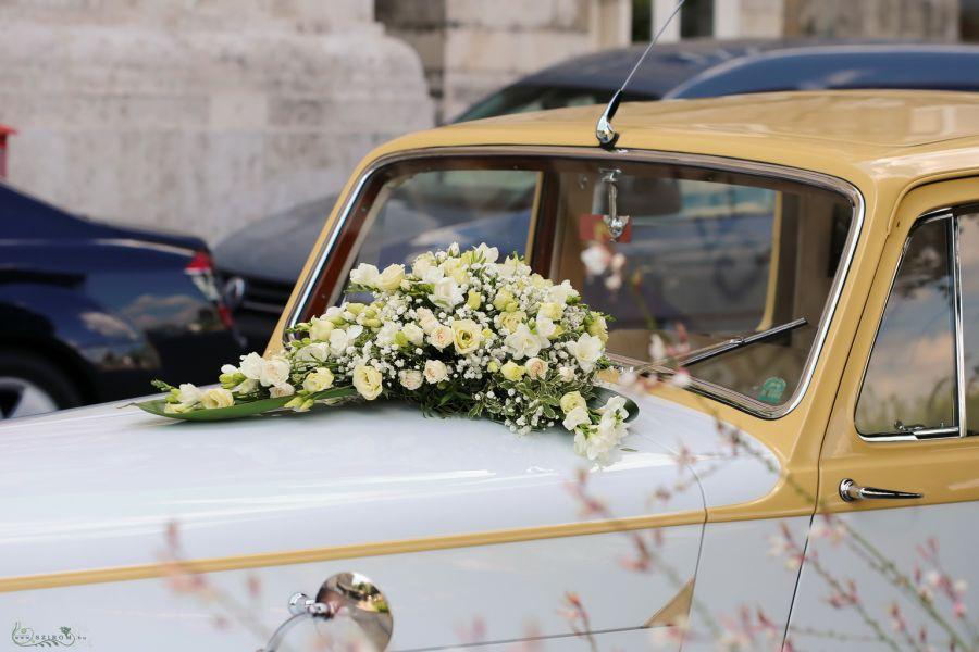 Szirom petal wedding florist budapest bridal bouquets wedding car flower arrangement with spray roses lisianthus babys breathe freesien white creme id 10754 junglespirit Image collections