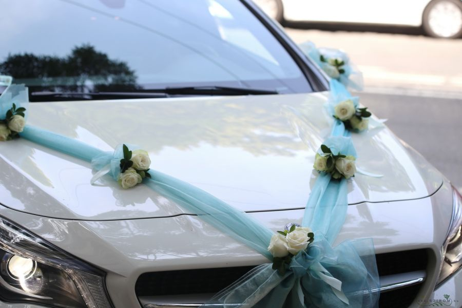 Szirom petal wedding florist budapest bridal bouquets wedding car decoration with roses rose organza white blue id 10758 junglespirit Image collections