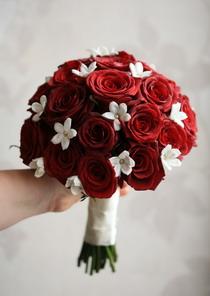 rózsa, stephanotis 30 szálas menyasszonyi csokor - esküvő virág