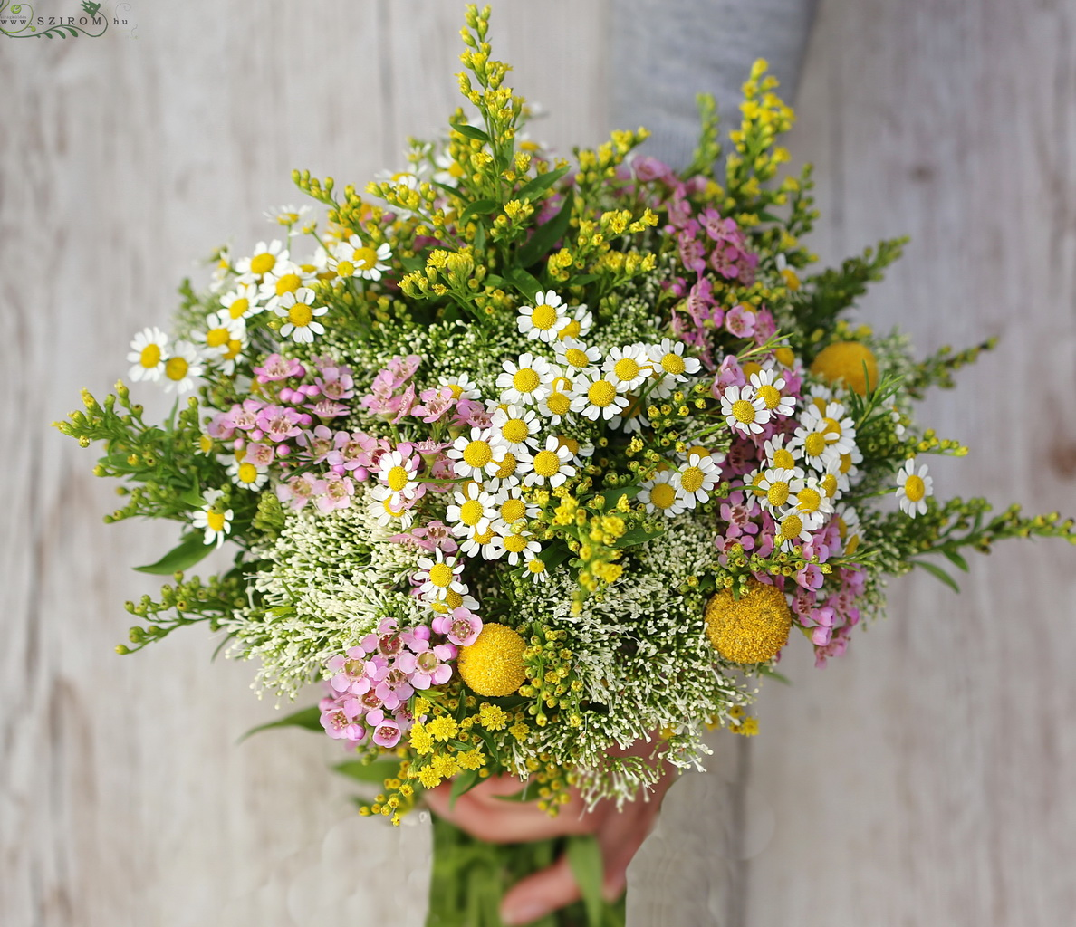 Bridal bouquet with meadow flowers (pink, yellow)