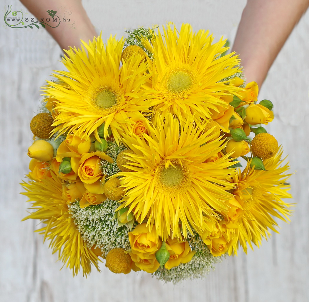 Bridal bouquet with yellow flowers, with spider gerbera