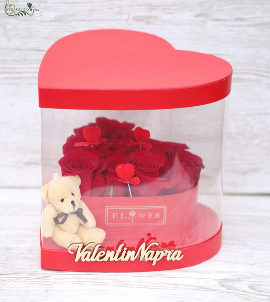 Valentines day heart shaped rose box with teddy and hearts (10 stems) - virágküldés