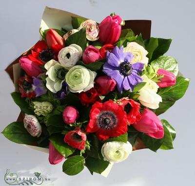 tavaszi anemone, boglárka, tulipán (30 szál) - virágküldés