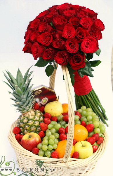 luxory fruit basket with chocolate, 40 red roses  - virágküldés