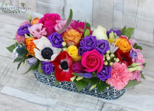 szivárvány virágtál (21 szál) - virágküldés