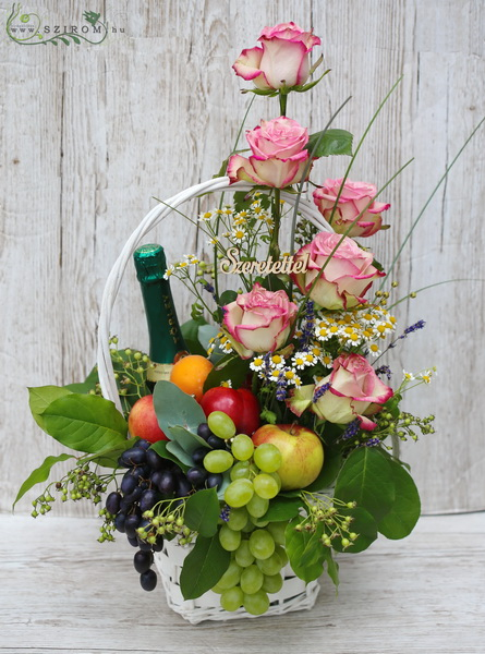 flower basket with fruits and champagne - virágküldés