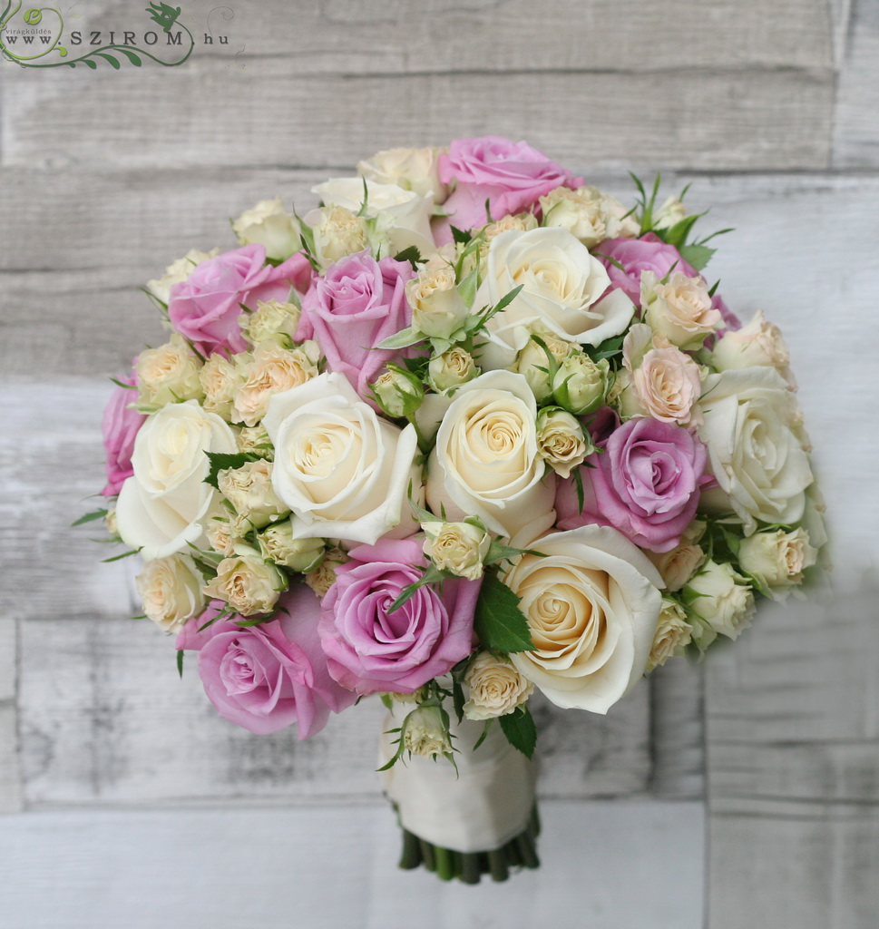 bridal bouquet (rose, spray rose, pink, cream)