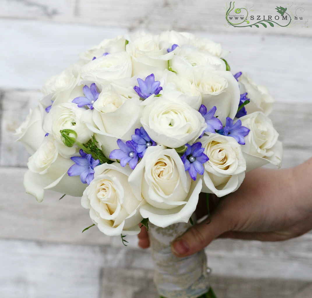 bridal bouquet (rose, buttercup, hyacinth, white, blue)