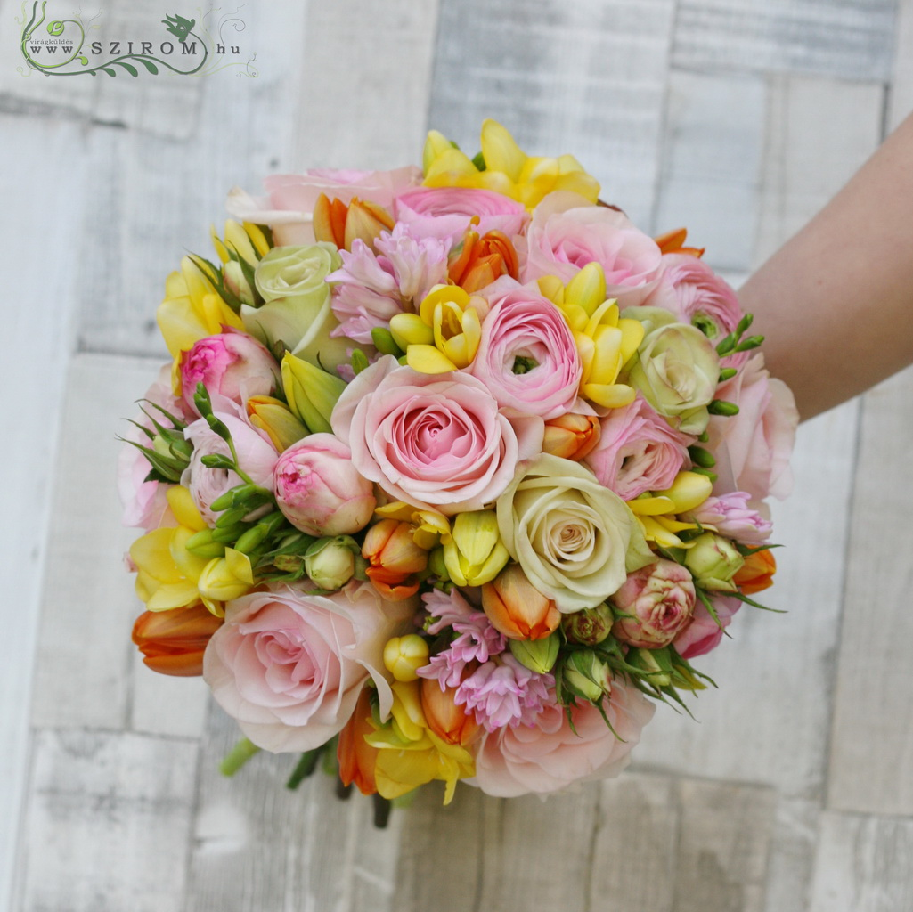 Bridal Bouquet with Spring Flowers (Rose, English Rose, Freesia, Hyacinth, Tulip, Bottercup, Pink, Yellow, Orange)