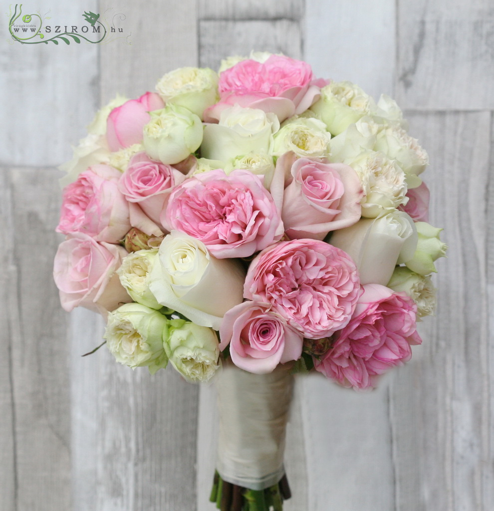 Bridal bouquet with David Austin roses ( white, pink)