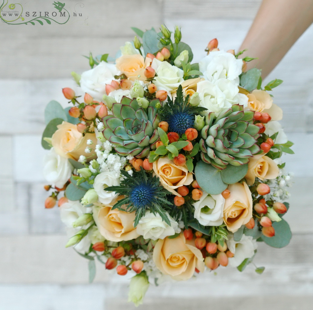 Bridal bouquet with succulents (Iringo, succulents, hypericum, liziantus, gypsophila, rose, white, peach, orange)