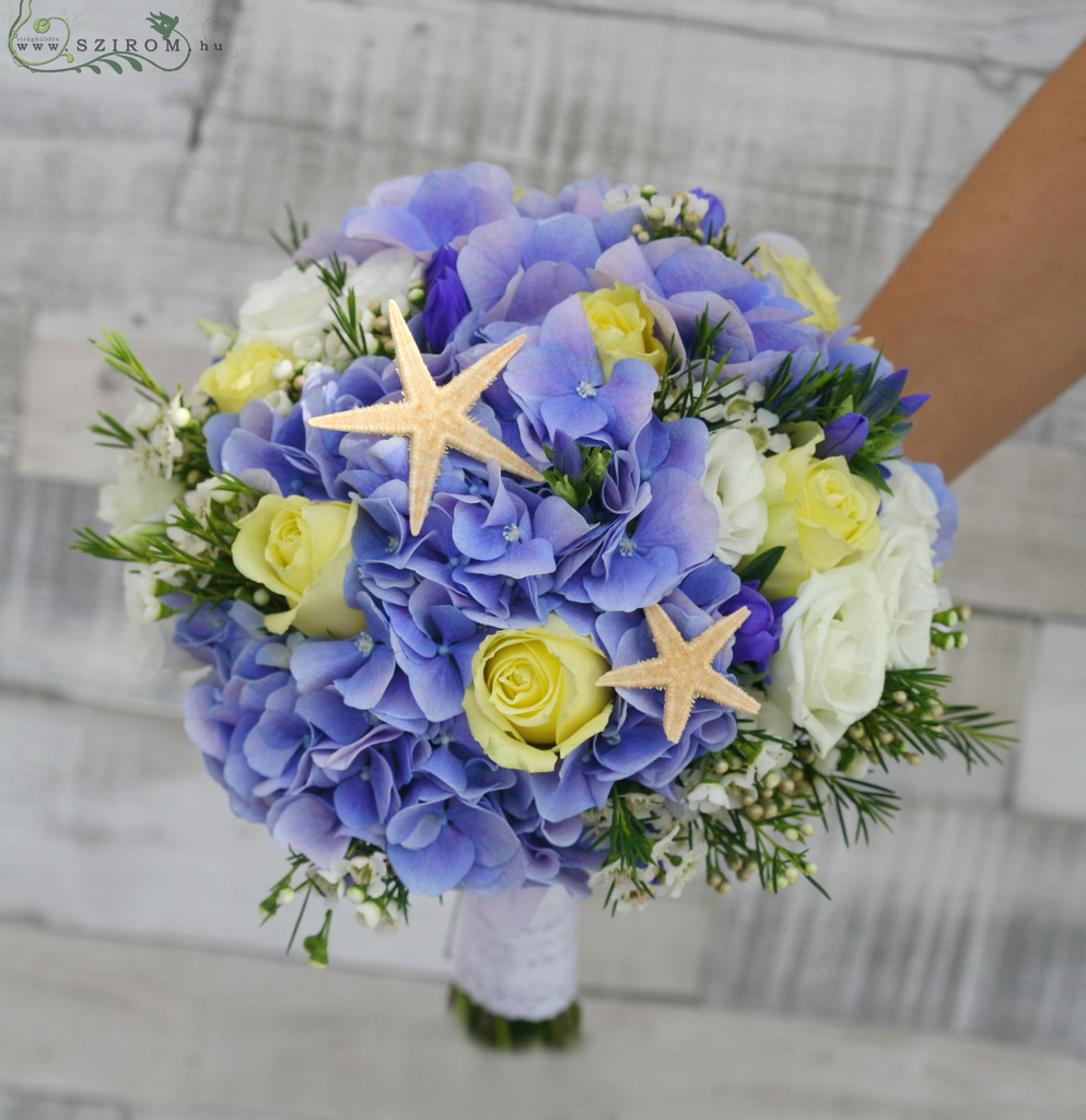 Bridal bouquet with hortensis, starfish (hydrangea, rose, liziantus, wax, blue, white, pastel yellow)