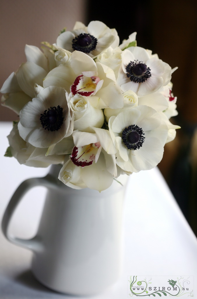 Bridal bouquet (roses, orchids, anemones, white)