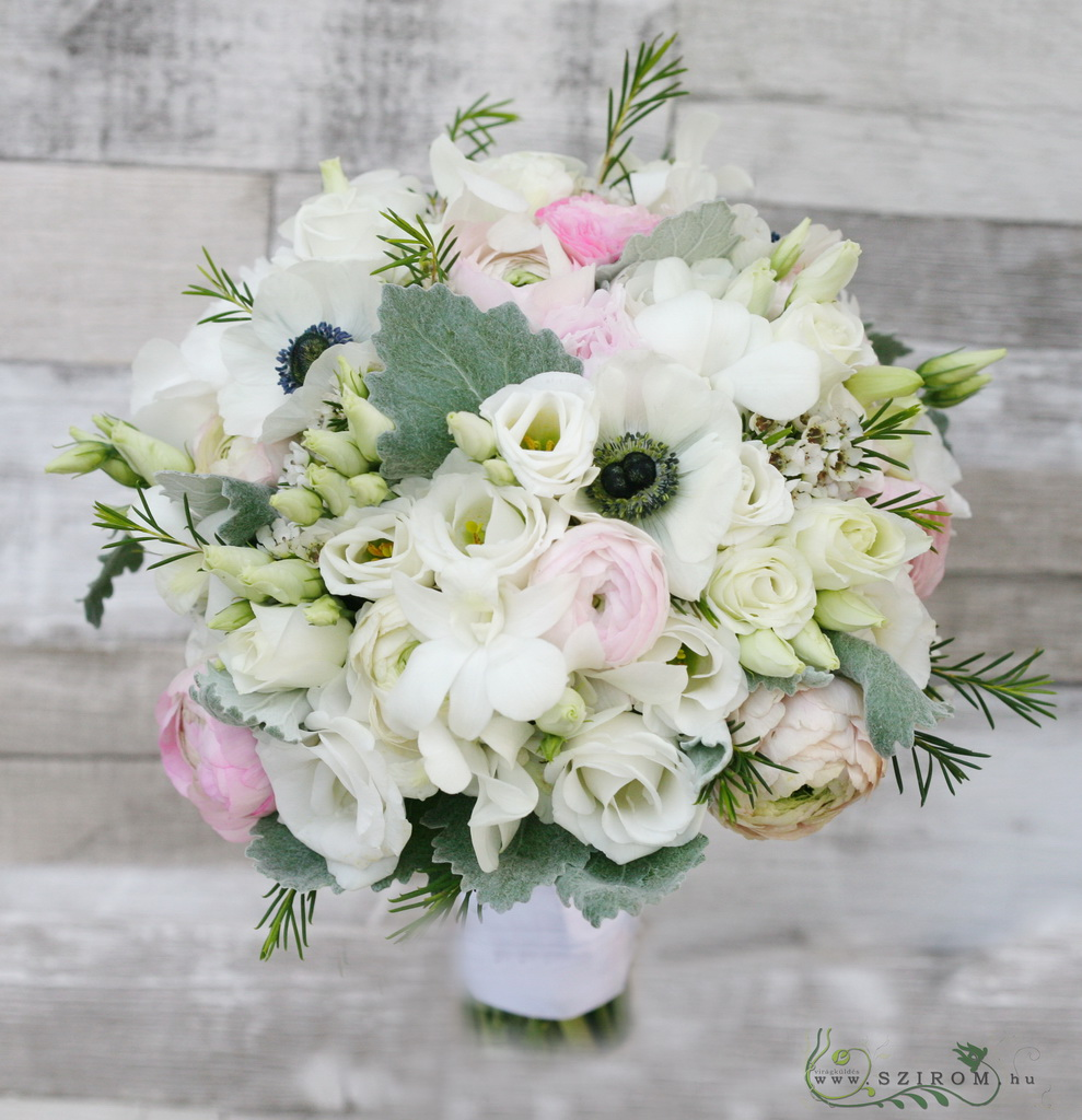Bridal bouquet with dendrobium, lisianthus, anemone, ranunculus (white, pink)