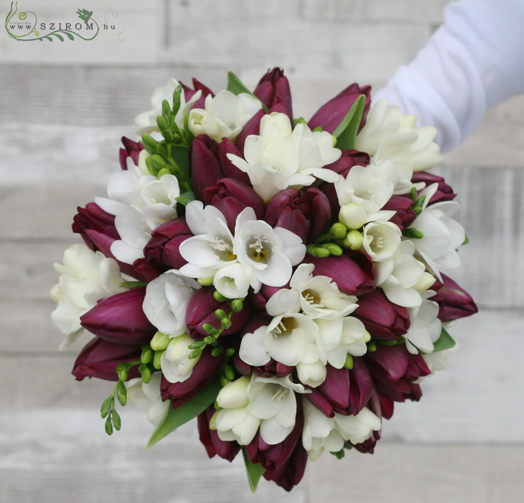 Bridal bouquet with tulips and freesias (white, purple)