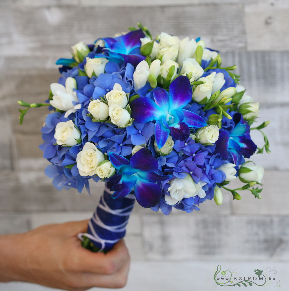Bridal Bouquet with Blue Flowers (hydrangea, roses, frise, dendrobium, blue, white)