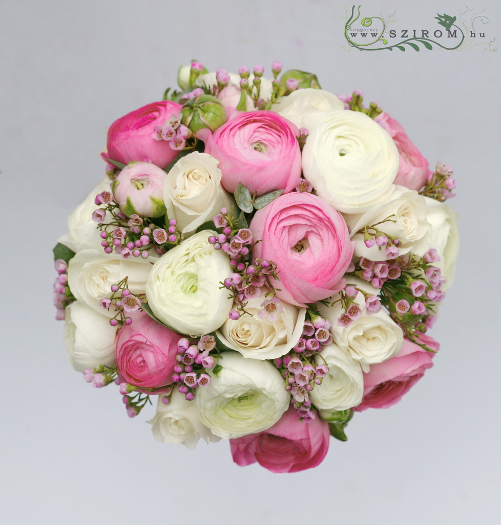 Bridal bouquet with ranunculus (buttercup, wax, white, pink)
