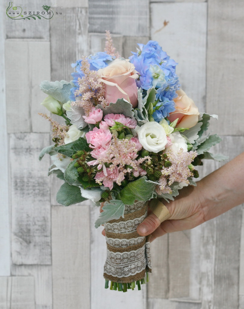 Bridal bouquet with astilbe and delphinium (rose, carnation, blackberry, pink, blue)
