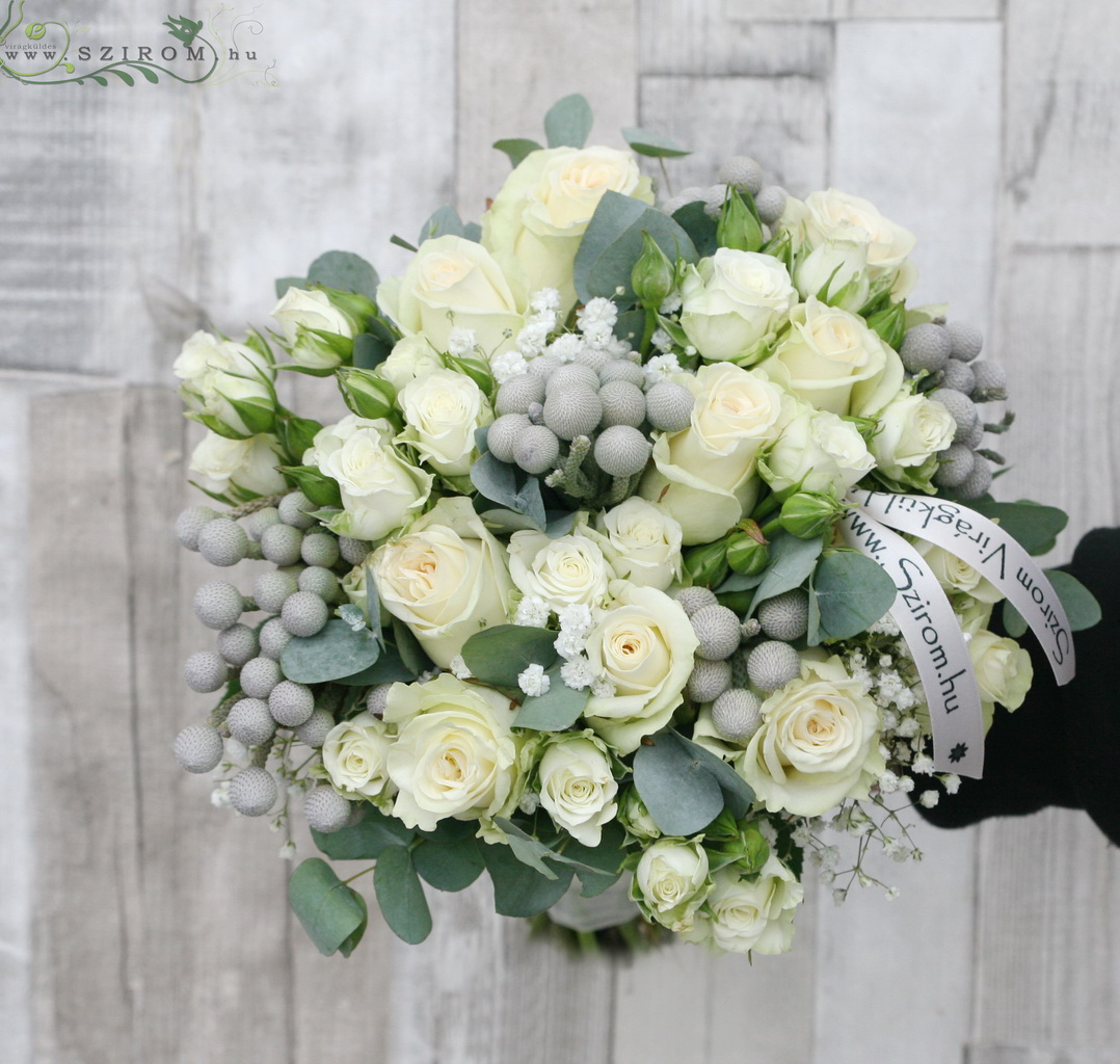 Bridal bouquet with brunnia. (white)