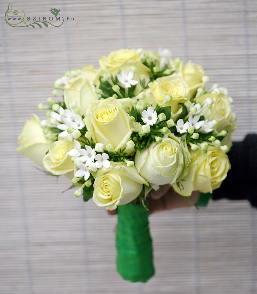 Bridal bouquet with vanilla roses and bouvardias (white)