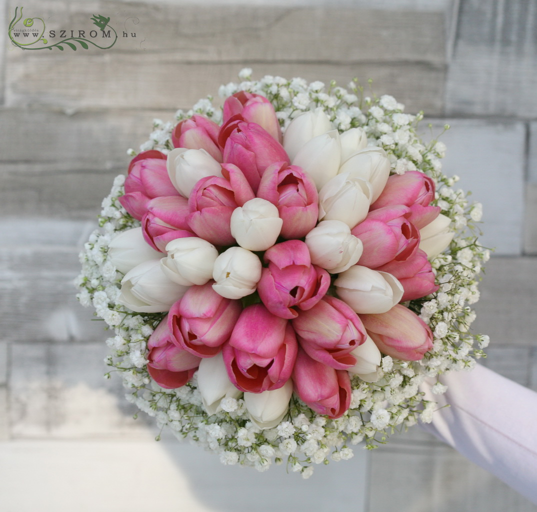 Bridal bouquet with tulips and gypsophila (pink, white)