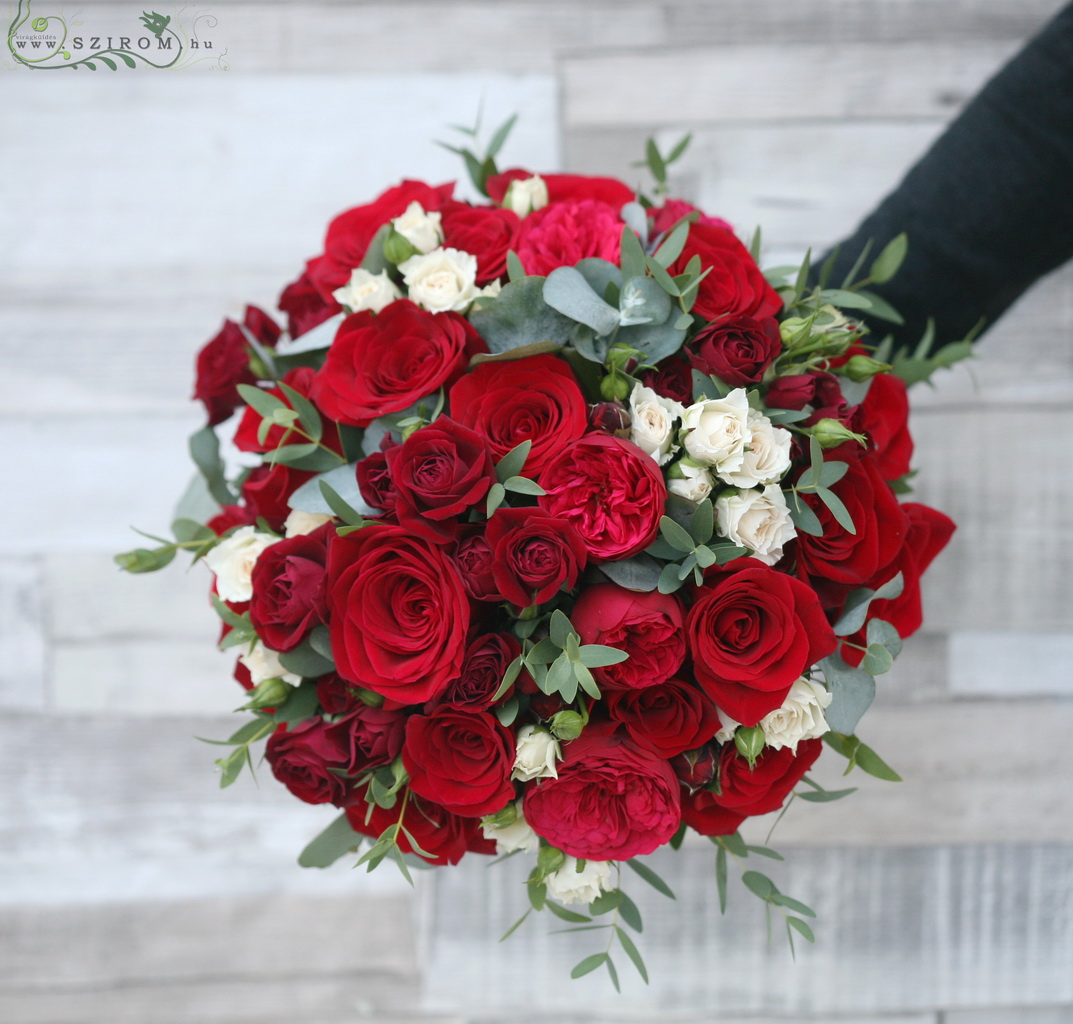 Bridal bouquet with english roses, red roses