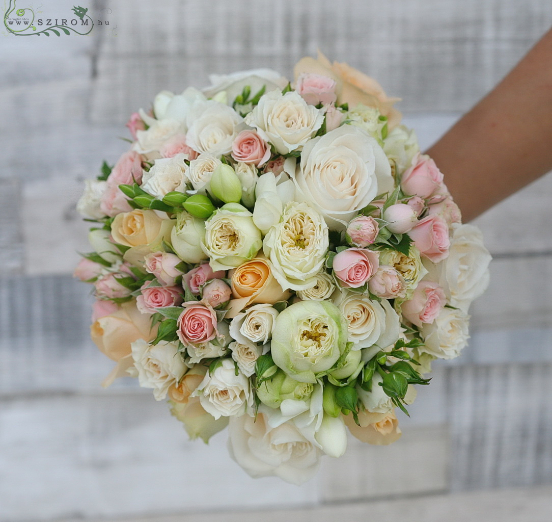 Bridal bouquet with mini roses, roses, freesias, english roses (white, pink, peach)