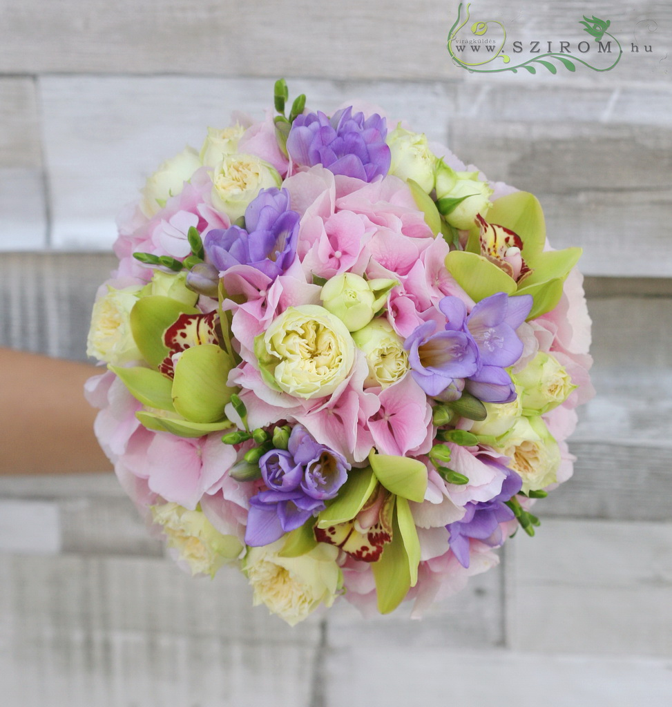 Bridal bouquet with hydrangeas, freesias, orchids, english roses (Green, pink, purple, cream)