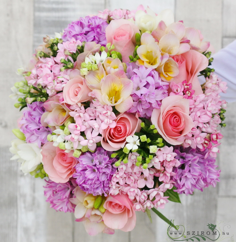 Bridal bouquet with hyacinths, bouvardias, freesias, roses (pink)