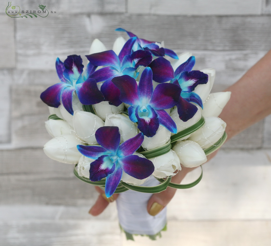 Bridal bouquet with tulips and blue dendrobium orchids (white, blue)