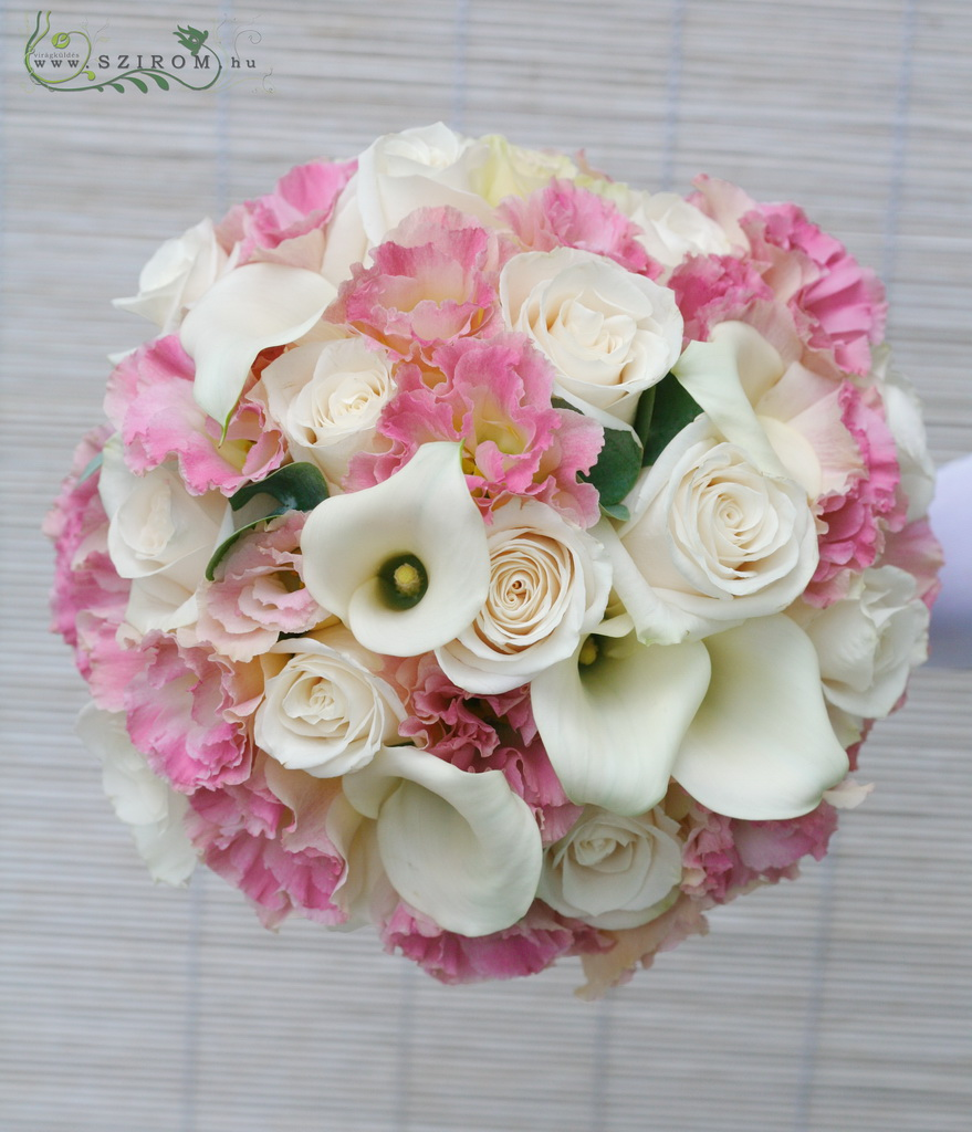 Bridal bouquet of callas, lisianthusses, roses (white, pink)