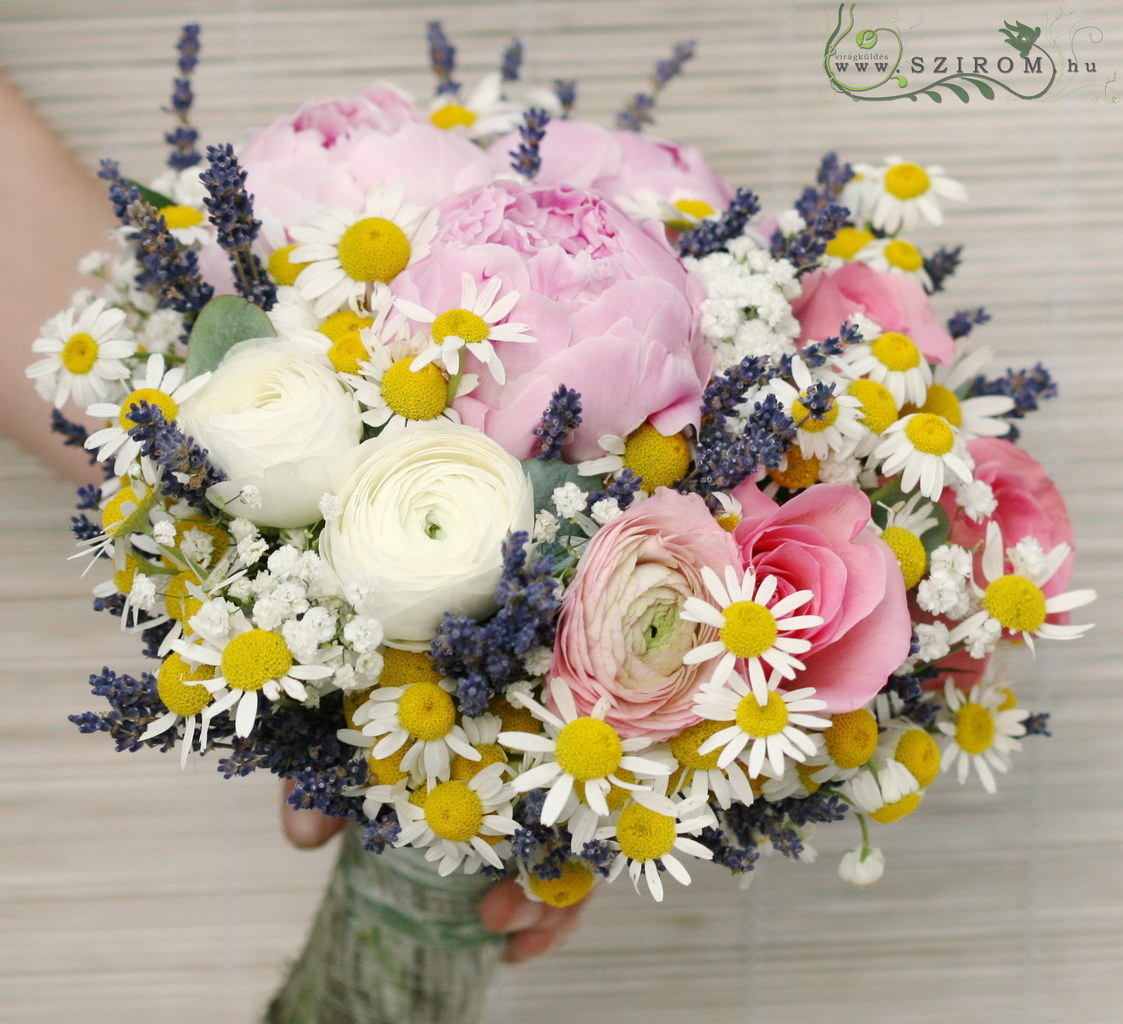 Bridal bouquet with camimilles, lavenders, peonyes (pink, purple,white)