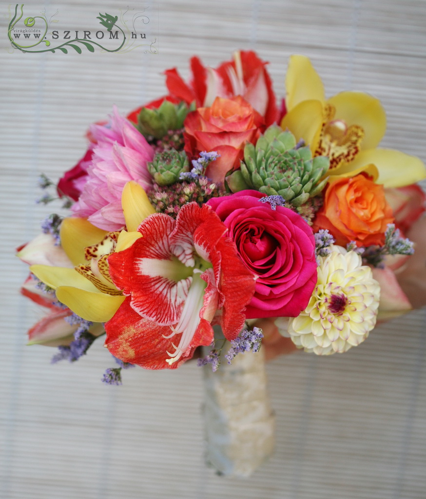 Bridal bouquet with colorful, tropical style (amarillis rose, cedar, dali, cymbidium, limonium, sedum, yellow, pink, orange, red)