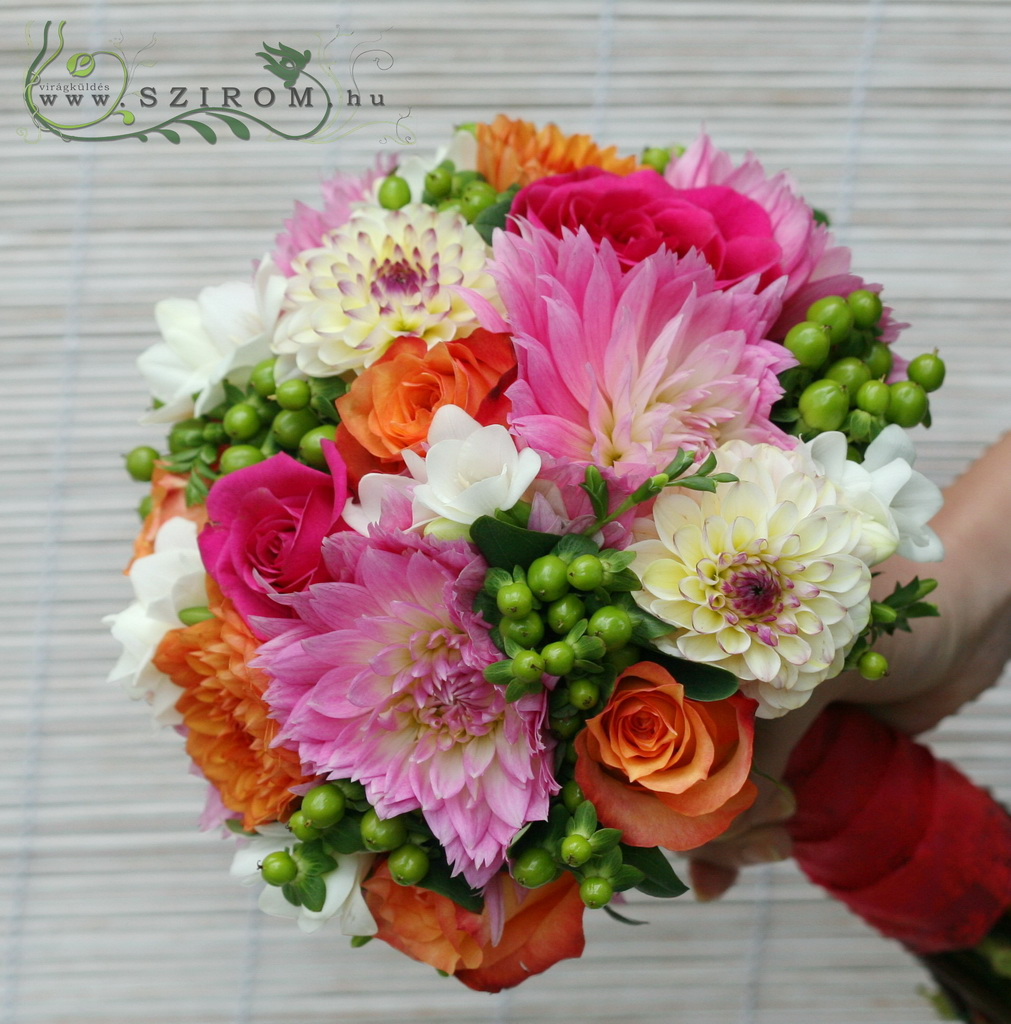Bridal Bouquet with Colored Dali (Hiperikum, Rose, Dali, Frise, Green, Orange, Pink)