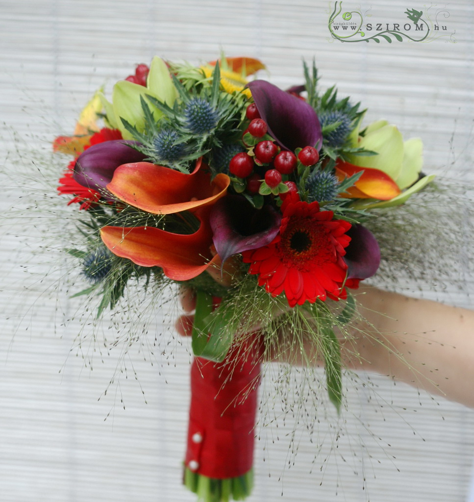 Bridal bouquet with callas, orchids, eryngium (colorful)
