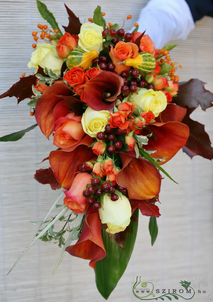 Bridal bouquet autumn  (hypericum, rose, calla, orange)