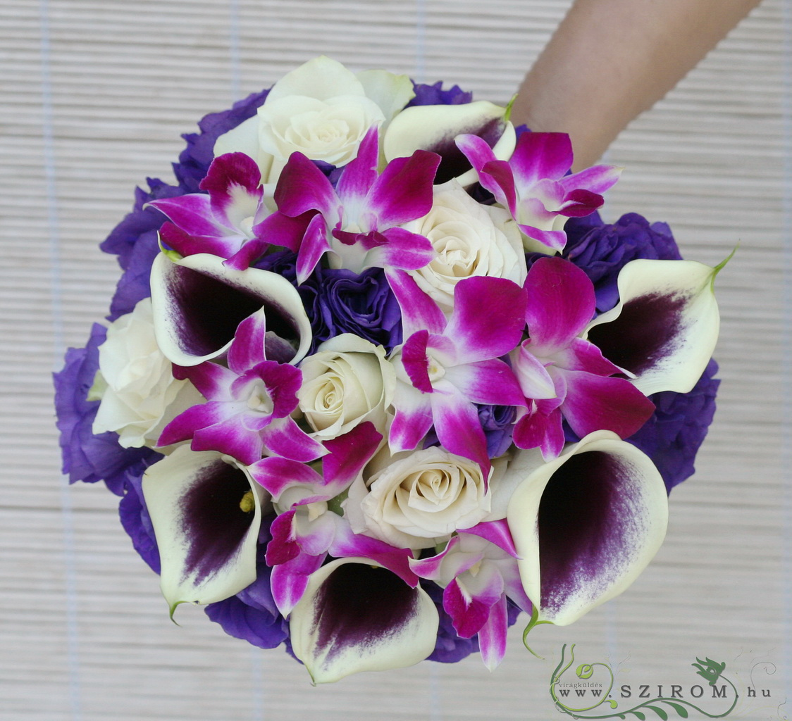 Bridal bouquet with dendrobium, calla, rose, lisianthus (pink, purple,white)